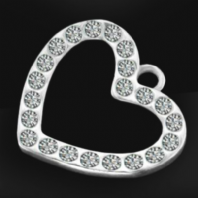 Sterling Silver Heart Charms with Crystal 15mm